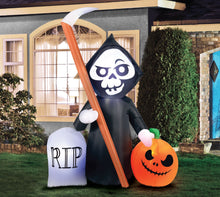 Load image into Gallery viewer, 5.5' Inflatable Reaper and Pumpkin Scene