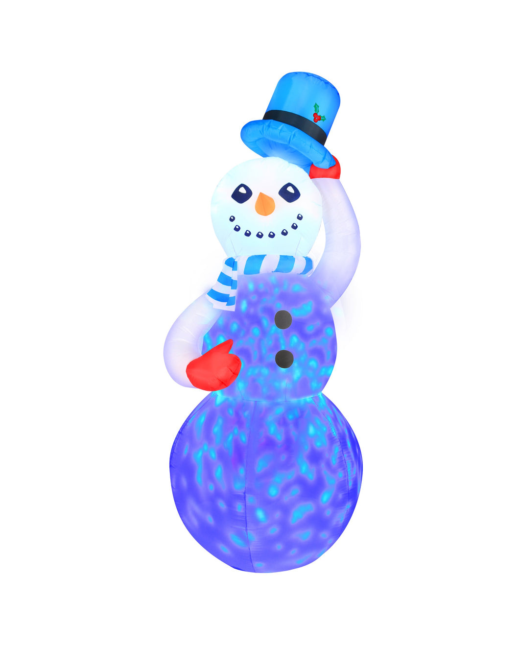 7' Inflatable Swirling Lights Snowman With Tipping Hat