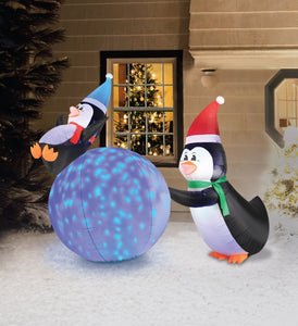 6' Inflatable PENGUINS With Swirling Lights Snowball