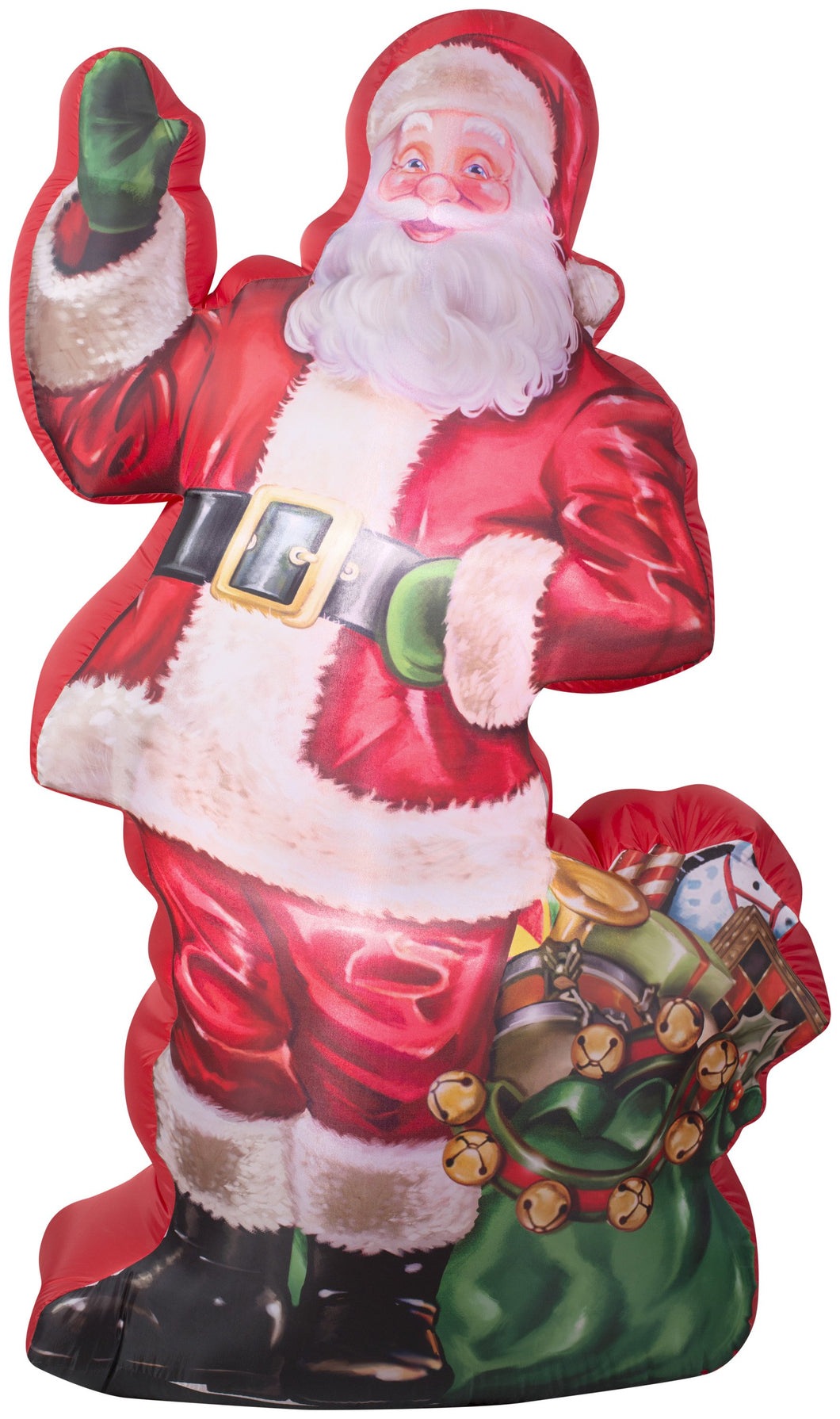 7' Photorealistic Airblown Illustrated Santa with Gift Bag Christmas Inflatable