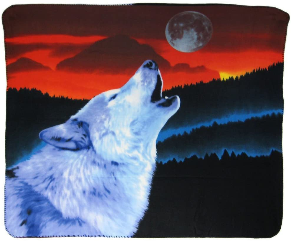 Howling Wolf at Moon Blanket