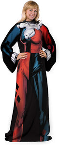 "DC Comics Batman ""Harley Quinn"" Adult Comfy Throw Blanket with Sleeves"