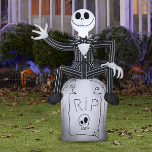 3.5' Airblown Jack Skellington on Tombstone Halloween Inflatable