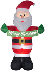 8' Airblown Santa w/Banner Christmas Inflatable