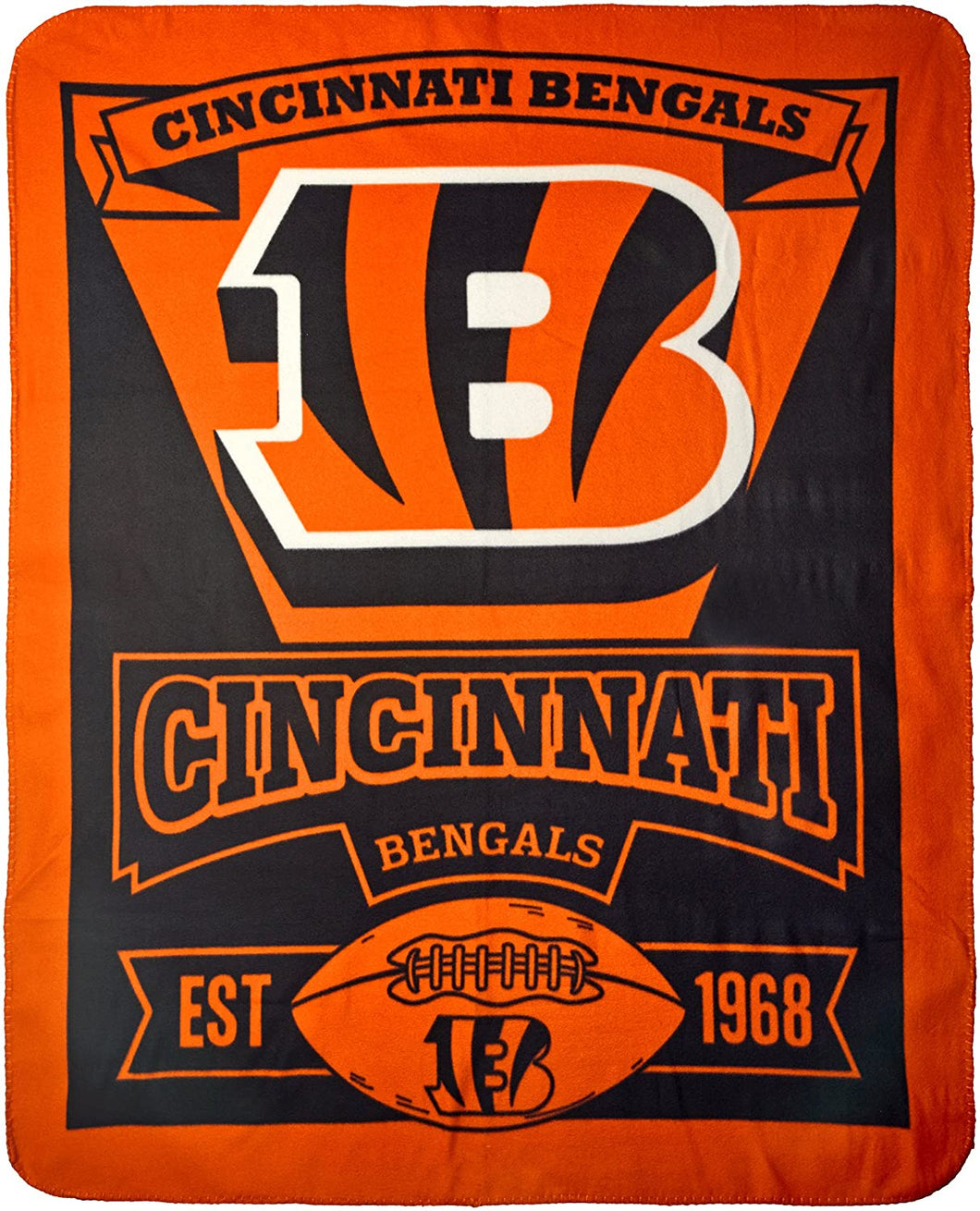 NFL Cincinnati Bengals Marque Printed Fleece Throw, 50-inch by 60-inch