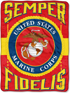 US Marines Semper Fidelis Fleece Throw