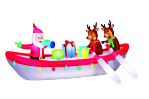 10' Wide Airblown Row Boat Santa Christmas Inflatable