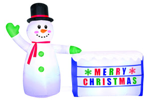 8' Airblown Snowman with Lighted Sign Christmas Inflatable