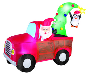 7.5' Airblown Santa Wagon Christmas Inflatable