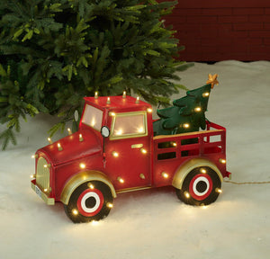 "27"" UL LED Truck With Christmas Tree Sculpture"