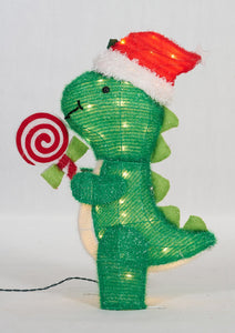"26"" UL Dinosaur With Peppermint Sculpture"