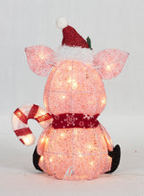"Load image into Gallery viewer, 20"" UL Glittering Thread Pig With Candy Cane Sculpture"