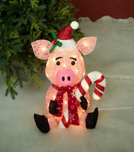 "20"" UL Glittering Thread Pig With Candy Cane Sculpture"