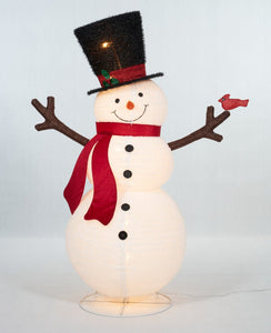 "60"" UL Pop-Up Fluffy Snowman Sculpture"