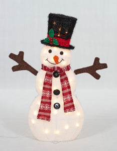 Set Of 3 UL Fluffy Snowman Family Sculpture