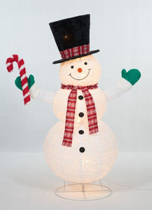 "60"" UL Pop-Up Snowman With Candy Cane Sculpture"