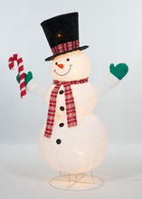 "Load image into Gallery viewer, 60"" UL Pop-Up Snowman With Candy Cane Sculpture"