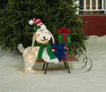 "Load image into Gallery viewer, 31-1/2"" UL Plush Dog And Sleigh Sculpture"