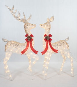 Set Of 2 UL Ombre Glittering Thread Buck And Doe Sculpture