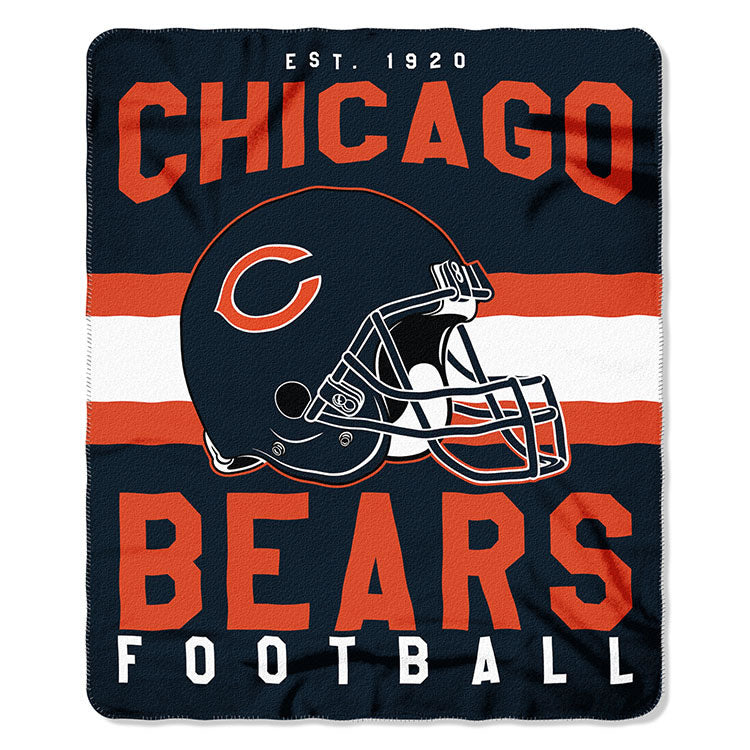 NFL Chicago Bears NFL Singular 50-Inch by 60-Inch Printed fleece Throw, Blue, 50-inches x 60