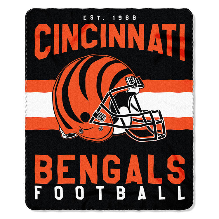 NFL Cincinnati Bengals NFL Singular 50-Inch by 60-Inch Printed fleece Throw, black, 50-inches x 60
