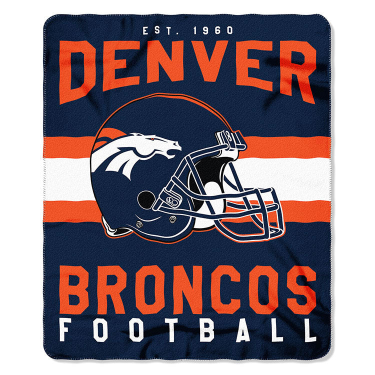 NFL Denver Broncos NFL Singular 50-Inch by 60-Inch Printed fleece Throw, Blue, 50-inches x 60