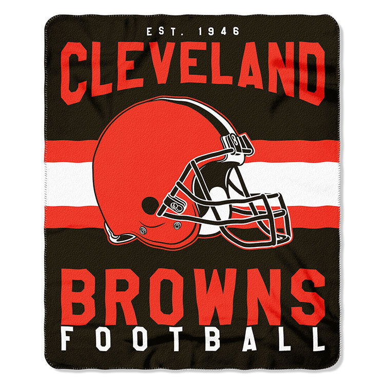 NFL Cleveland Browns NFL Singular 50-Inch by 60-Inch Printed fleece Throw, Blue, 50-inches x 60