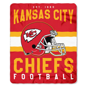 NFL Kansas CITY Chiefs NFL Singular 50-Inch by 60-Inch Printed fleece Throw, Red, 50-inches x 60""