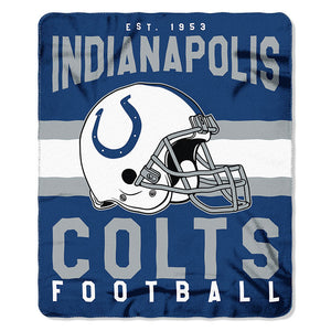 NFL Indianapolis Colts NFL Singular 50-Inch by 60-Inch Printed fleece Throw, Blue, 50-inches x 60""