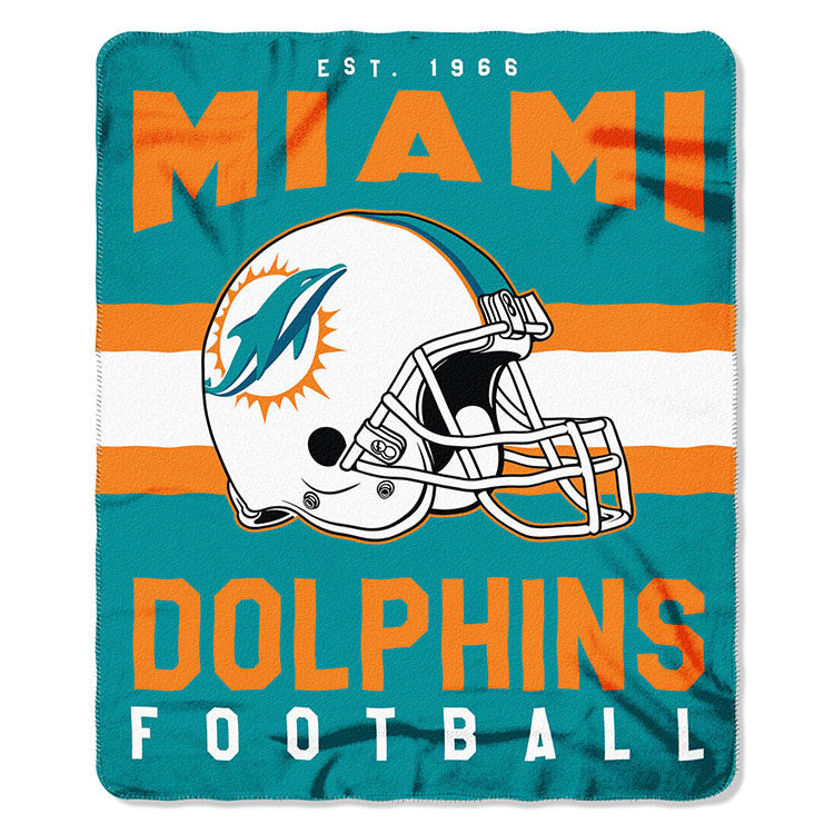 NFL Miami Dolphins NFL Singular 50-Inch by 60-Inch Printed fleece Throw, Teal, 50-inches x 60