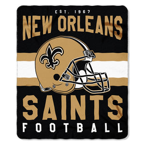 NFL New Orleans Saints NFL Singular 50-Inch by 60-Inch Printed fleece Throw, Gold, 50-inches x 60""