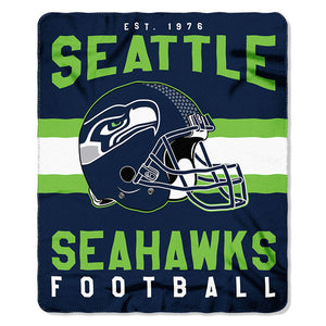 NFL Seattle Seahawks NFL Singular 50-Inch by 60-Inch Printed fleece Throw, Blue, 50-inches x 60""