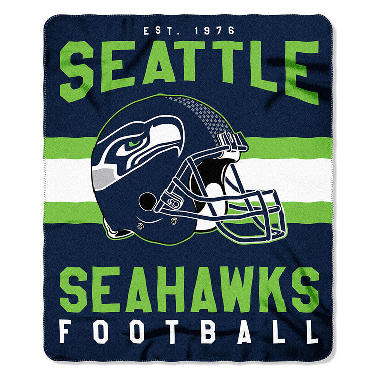 NFL Seattle Seahawks NFL Singular 50-Inch by 60-Inch Printed fleece Throw, Blue, 50-inches x 60