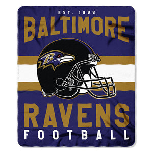 NFL Baltimore Ravens NFL Singular 50-Inch by 60-Inch Printed fleece Throw, Purple, 50-inches x 60""