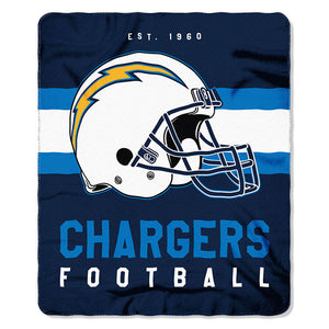 NFL Los Angeles Chargers NFL Singular 50-Inch by 60-Inch Printed fleece Throw, Blue, 50-inches x 60""