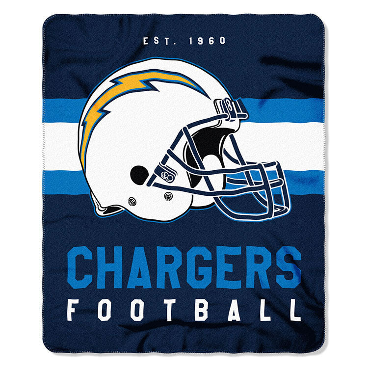 NFL Los Angeles Chargers NFL Singular 50-Inch by 60-Inch Printed fleece Throw, Blue, 50-inches x 60