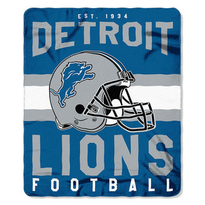 NFL Detroit Lions NFL Singular 50-Inch by 60-Inch Printed fleece Throw, Blue, 50-inches x 60""