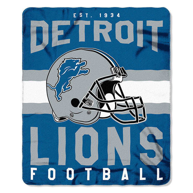 NFL Detroit Lions NFL Singular 50-Inch by 60-Inch Printed fleece Throw, Blue, 50-inches x 60