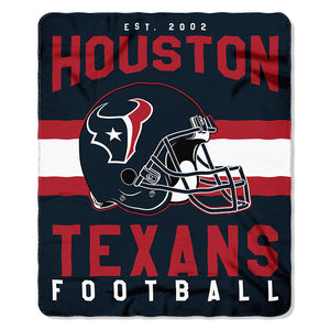 NFL Houston Texans NFL Singular 50-Inch by 60-Inch Printed fleece Throw, Blue, 50-inches x 60""