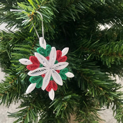 Paper Quilled Snowflake in red green and white colors