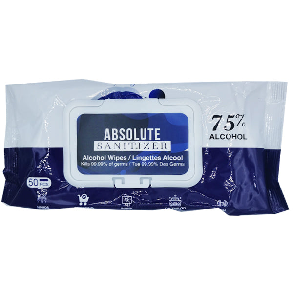 Absolute Sanitizer 75% Alcohol Wipes 50 pcs