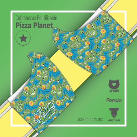 Cubrebocas reutilizable: Pizza Planet