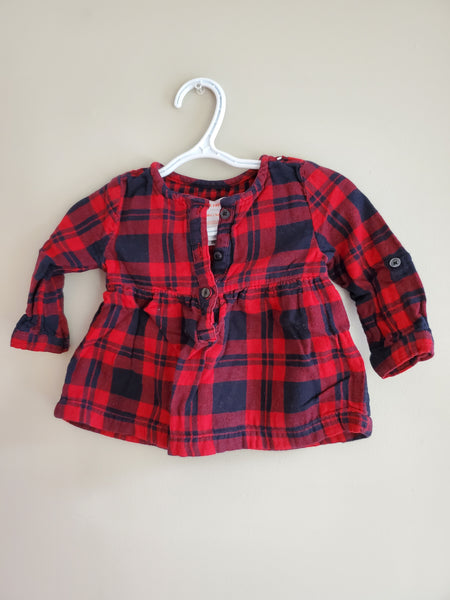 Red Plaid Shirt Dress, 6/12M