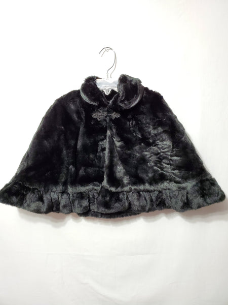 Black Faux Fur Shawl, 3T