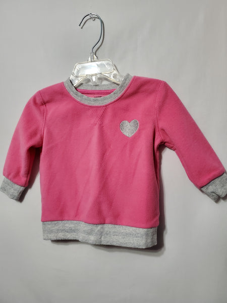 Pink Fleece Sweater, 6/12M