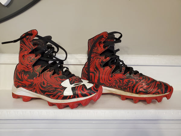 Under Armour Red Football Cleats, 2.5Y