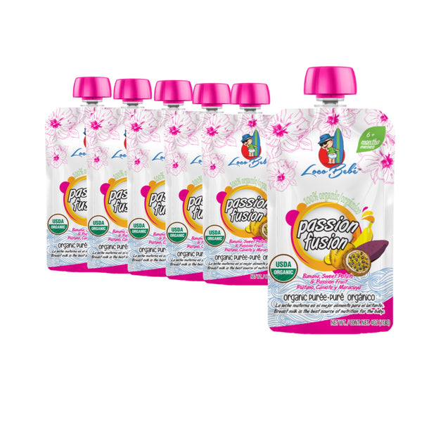 6, 4 oz Passion Fusion Organic Puree Pouches