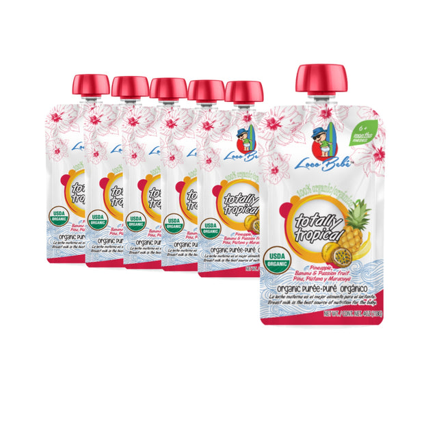 6, 4 oz Totally Tropical Organic Puree Pouches Pineapple, Banana and Passion Fruit