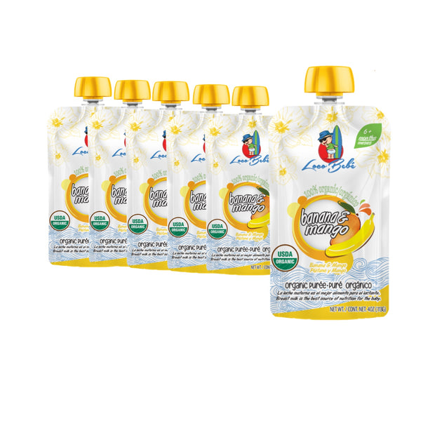 6, 4 oz Banana Mango Organic Puree Pouches