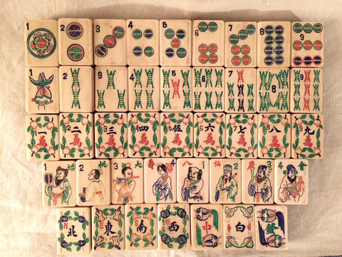Mahjong Set Made in China With Fish As One Bam And other longevity symbols
